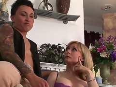 Gorgeous breasty MILF Nina Hartley is meeting a very particular lesbo kitty ally tonight. This time she will be getting it on with studly inked diesel dyke Syd Blakovich A!