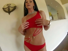 India Summer is a sexy bodied tall black haired MILF with slender figure and adorable round ass. Woman in red bends over in front of a curious guy and gets her ass spanked by his schlong with her panties on