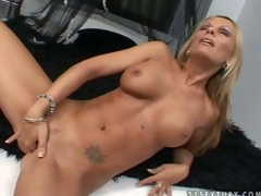 Turned on tanned blonde milf Vivian with jaw drooping hooters and perfectly shaped fit body gets naked fingers shaved wet cunny to warm big O in memorable solo action filmed in close up