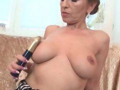 Milf with splendid big tits fingers her twat