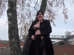 Biggest Dilettante milfs public exhibitionism and alfresco chunky flashing of knockers and beaver in A busy roundabout