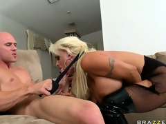 The slutty golden-haired sucks his large jock getting it ready for her taut holes