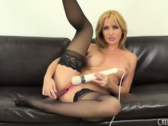 Hot blonde cutie, Angela Sommers goes to city in this solo performance