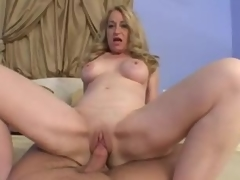 Blonde mature takes his cock in POV