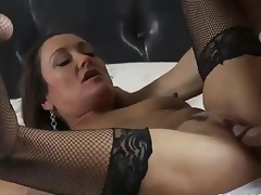 MILF Michelle Lay in darksome mesh stockings is sex hungry after  divorce. Johnny Sins is her BF and his cock is big! She blows his meat pole and then gets her eager older muff drilled.
