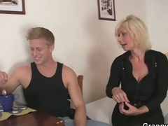 Old golden-haired is doggy-style fucked !